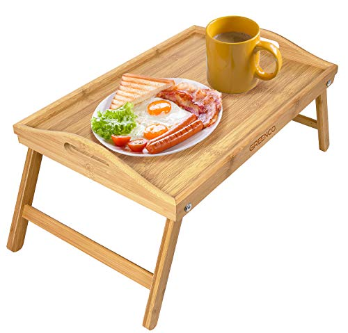 (Greenco Bamboo Foldable Breakfast Table, Laptop Desk, Bed Table, Serving Tray )