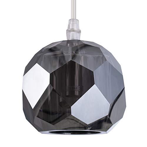 (Calvin Patik Modern Kitchen Island Crystal Pendant Lighting, Nickel Plated Smoked Gray Crystal 1-Light Soccer Ball Shade Ceiling Hanging Small Globe Pendant Lighting Fixture for Kitchen Living Room)