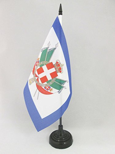 - AZ FLAG Coat of Arms Kingdom of Italy 1861-1870 Table Flag 5'' x 8'' - Royal Italian Desk Flag 21 x 14 cm - Black Plastic Stick and Base