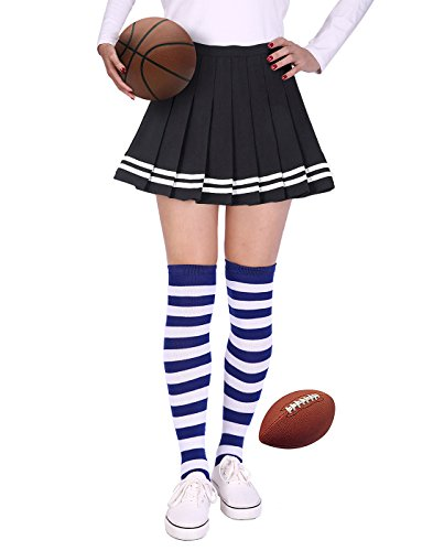 HDE Womens Striped Socks School Team University Colors OTK Long Knee High socks (Blue and White) ()