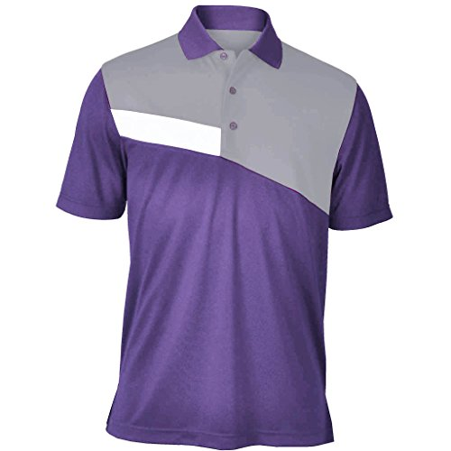 Monterey Club Mens Dry Swing Side Slash Contrast Shirt #1194 (Dahila Purple/Gray, X-Large)