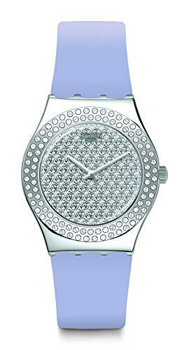 Swatch Swiss Quartz Silicone Strap, púrpura, 16 reloj casual (modelo: YLS216)