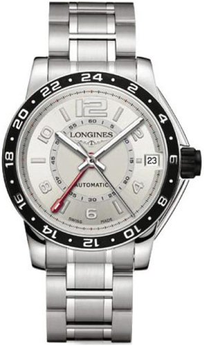 Longines Admiral GMT Silver Dial Stainless Steel Mens Wat...