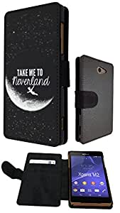Cool Funky Moon take me to neverland 21 Design Sony Xperia M2 Fashion Trend Full Case Book Style Flip cover Defender Credit Card Holder Pouch Case Cover iPhone Wallet Purse