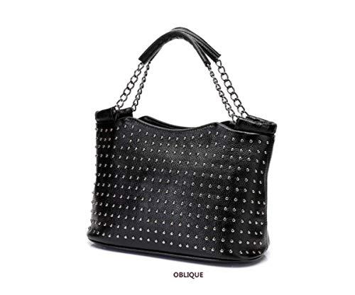 Mesdames Cuir Main Diagonales Mode Black à Sacs Chaînes Haut Portables En Rivets Gamme De ZZfqTar