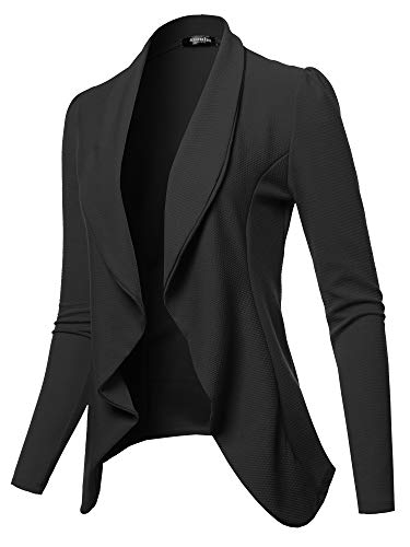 (SSOULM Women's Long Sleeve Classic Draped Open Front Lightweight Blazer Black 2XL)