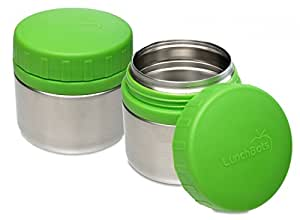 LunchBots Rounds Leak Proof Stainless Steel Food Containers Set of 2, Green