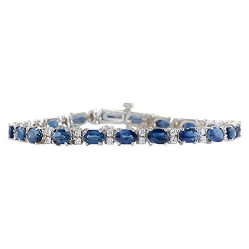 12.8 Carat Natural Blue Sapphire and Diamond (F-G Color, VS1-VS2 Clarity) 14K White Gold Tennis Bracelet for Women Exclusively Handcrafted in USA ()