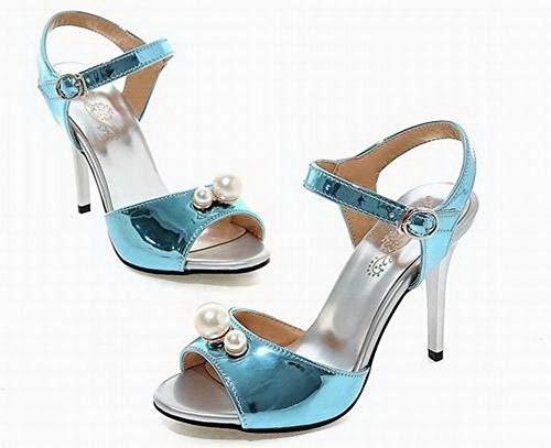 Agoolar Boucle Unie Sandales Haut Pu Bleu À Femme Gmblb015427 Cuir Rqrwq