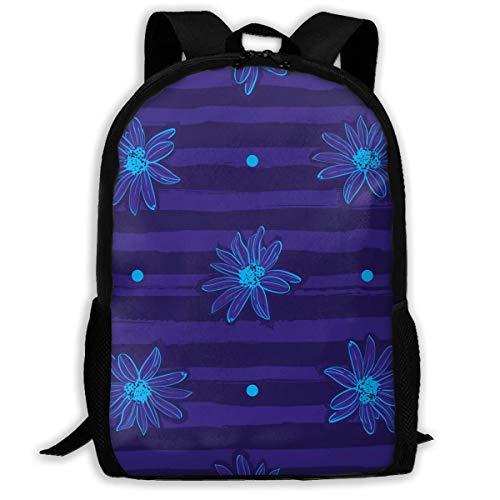 (Unisex Adult School Backpack Flower Pattern Trendy Striped Blue Bookbag Casual Travel Bag)
