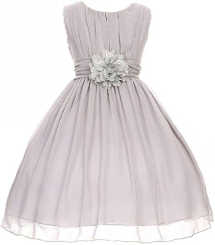 Big Girls' Elegant Yoryu Wrinkled Chiffon Summer Flowers Girls Dresses Silver 14 G35G34