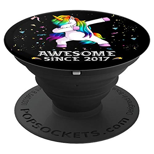 Dabbing Unicorn Awesome Since 2017 2 Years Old 2nd Bday Gift PopSockets Grip and Stand for Phones and Tablets -