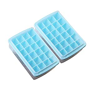 Riverbyland Blue Ice Cube Trays with Cover 24 cubes Set of 2