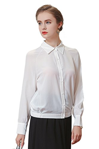VOA Women's White Long Sleeve Silk Blouse Top Shirt B6097