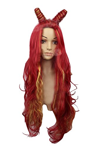 Xcoser Poison Ivy Cosplay Golden Red Mixed Color Long Wavy Prestyled Costume Wig