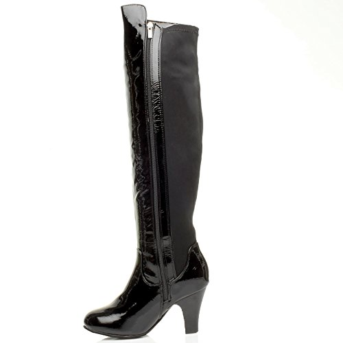 Ajvani Womens ladies high chunky heel over the knee stretch wide calf zip riding boots size Black Crinkle Patent Fg97N8mT
