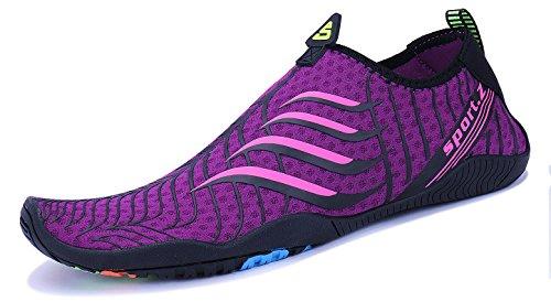Yoga Schage D'eau Femmes Surf Piscine Barefoot Plage Exercice Pour Rapide Hommes 34 violet Aqua Swim Chaussures Mayzero qTIUwFnOT