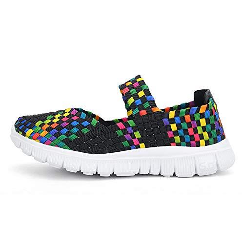 Respirant Femmes Sport Plates de Casual Noir tissé Chaussures Chaussures Yesmile Mode Sandales UB40q