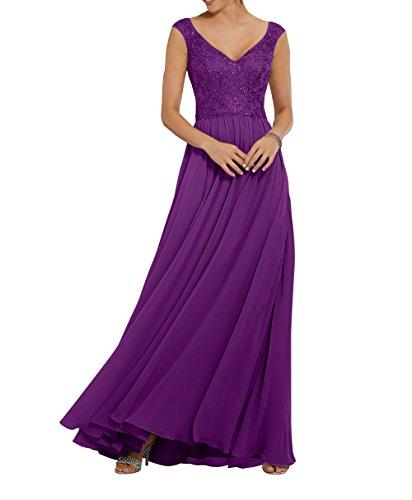 Spitze Elegant Lang linieAbschlussballkleider Violett Festlichkleider Damen Abendkleider Partykleider A Charmant 6EFaPZ5