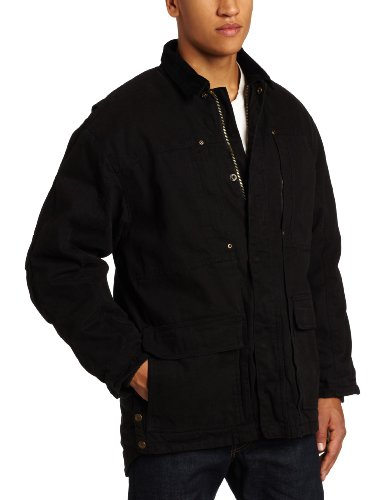 Key Apparel Men's Premium Insulated Fleece Lined Duck Chore Coat, Black, Large (Duck Premium Coat)