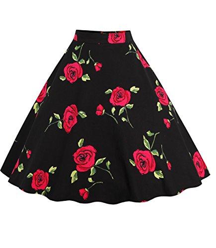 Relipop Women Floral Pleated Knee Length A-line Skirt