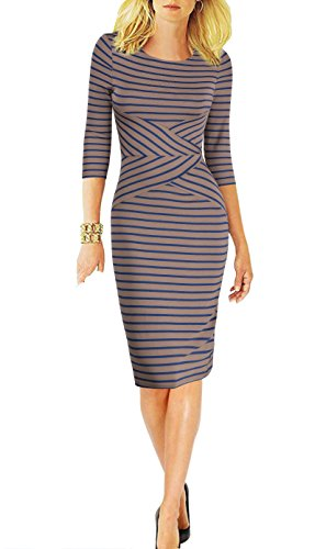 (REPHYLLIS Women 3/4 Sleeve Striped Wear to Work Business Cocktail Pencil Dress (Small,)