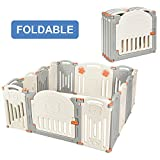 Costzon Baby Playpen, 14-Panel Foldable Kids Safety Activity Center Playard w/Walk-Through Locking Gate, Non-Slip Rubber Mats, Adjustable Shape, Portable Design for Indoor Outdoor Use (Beige + Gray)