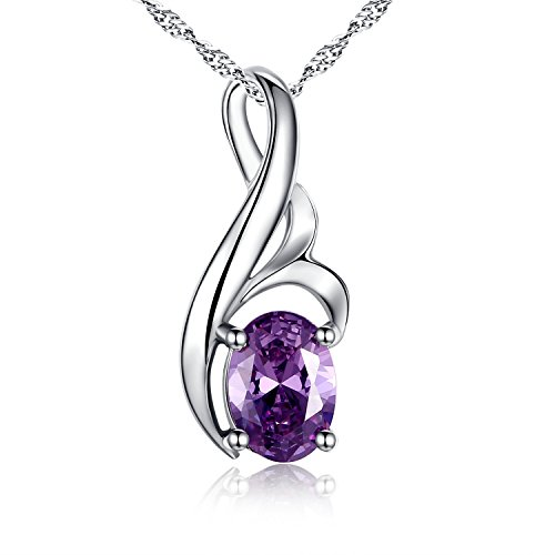 Mabella Sterling Silver Necklace February Birthstone Simulated Amethyst Pendant Women Valentines Day Gift (Amethyst Cubic Zirconia Pendant)