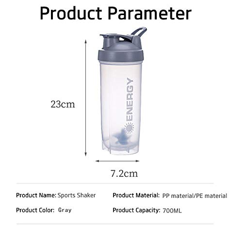 Energy Perfect Shaker Bottle, Classic Gym Sports Bottle, Salad Mixing Cup, with Stirring Ball, 24-Ounce Sports Bottle, Essential for Fitness Gifts,Gray (Gray)