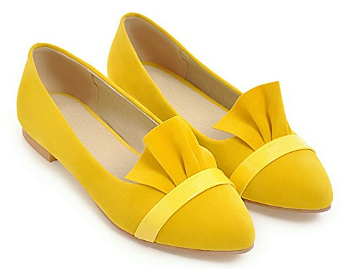 Danse Coupe Fermée Jaune Léger Enfiler Pointues Femme Belle à Ballerines Aisun Eq0AS