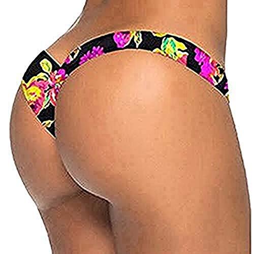 Alangbudu Women Love Cutout Swim Shorts Swimwear Brazilian Cheeky Bikini Bottom Side Tie Thong Bathing Swimsuit D-Black]()