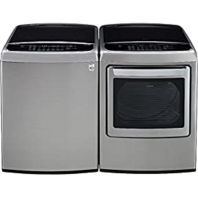 LG PAIR SPECIAL-Mega Capacity High Efficiency Top Load Laundry System *Graphite Steel* (WT1801HVA_DLEY1701V)
