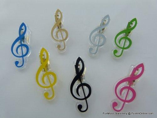 (Funmusiconline 5pcs Treble Clef Music Theme Paper Clip (5pcs Assorted Colours - Note: 5pcs/set))