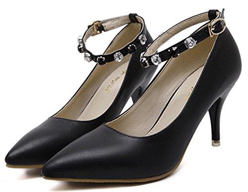 IDIFU Womens Classic Rhinestones Closed Pointed Toe Ankle Strap Buckle High Stiletto Heels Pumps Shoes Black yVslF
