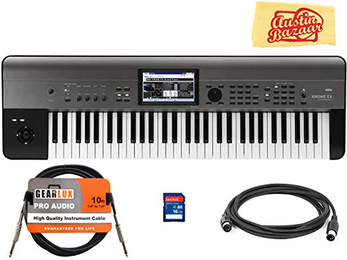 Korg Krome-EX 61-Key Music Workstation Bundle with SD Card, Instrument Cable, Midi Cable, and Austin Bazaar Polishing Cloth