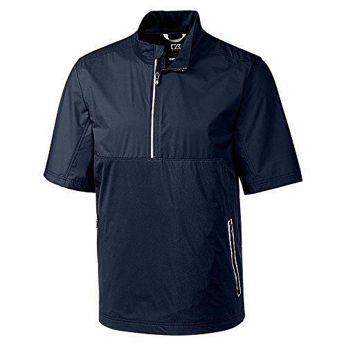Cutter & Buck Men's Waterproof Packable Fairway Short Sleeve Half Zip Pullover, Liberty Navy, XXX Large Shell Half Zip Mens Pullover