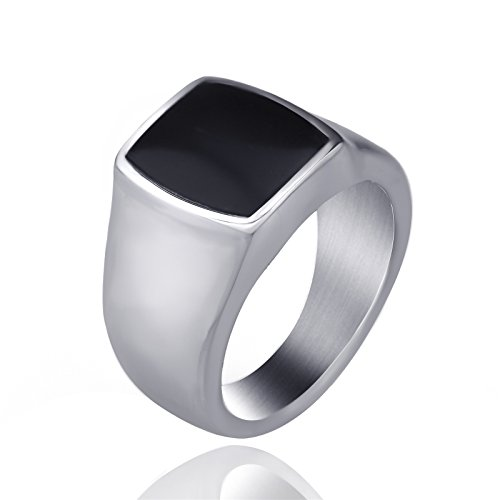 Men's Women's Stainless Steel Ring Band Silver Black Enamel Jewelry Us Size 7