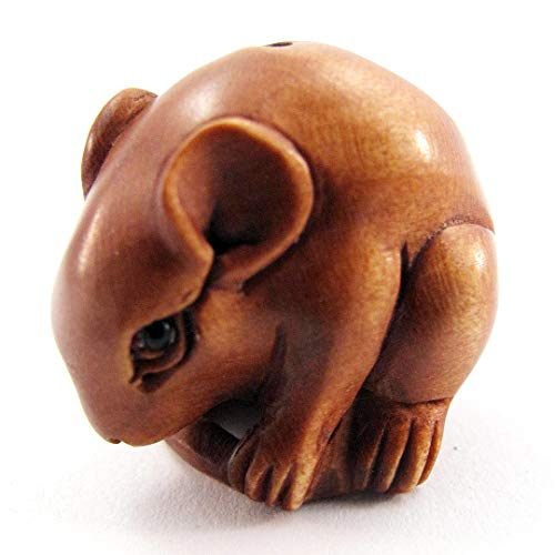 - Ojime Boxwood Bead of Mouse on Curled Tail