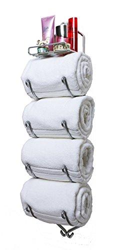 "Sparkling Collectibles 38"" Wall Mounted 4 Arm + Shelf Chrome Towel Rack ~ Towel Holder, Bathroom Towel, Bathroom Storage (Chrome, 4 Arm + Shelf) Made in The U.S.A"