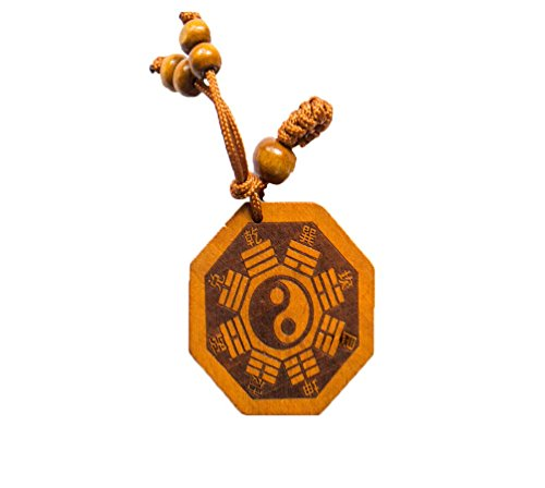 Chinese Yin Yang - Handmade Wood Fortune Protection, Good Luck Charms, Fortune Mantra Written on Back Side, Bring Good Luck in Financial and Love Life, Hand Crafted By Buddha Temple Monk's ()