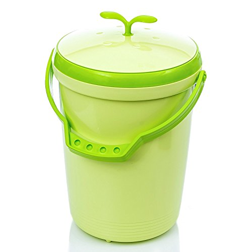Tenby Living Food Waste Compost Bin for Kitchen Counter Top Use, Green
