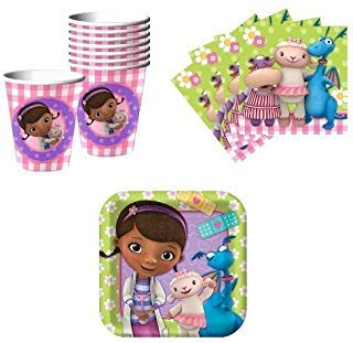 Doc McStuffins Birthday Party Supplies Set Plates Napkins Cups Kit for 16]()