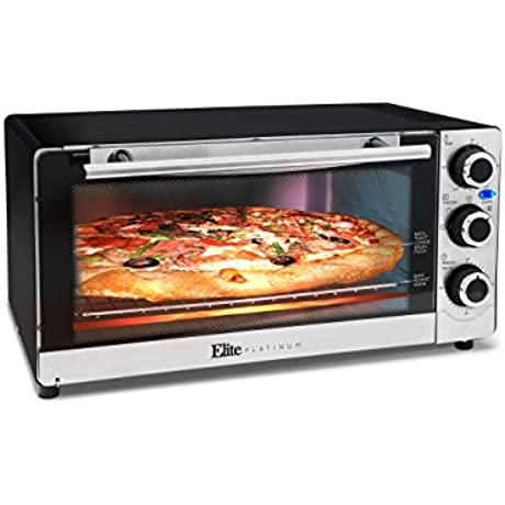 Elite Platinum ETO 140C Countertop Convection 6 Slice Toaster Oven Stainless Steel Black