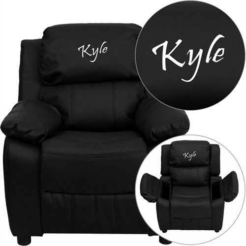 - Flash Furniture Personalized Deluxe Kid's Recliner Upholstery: Black Leather
