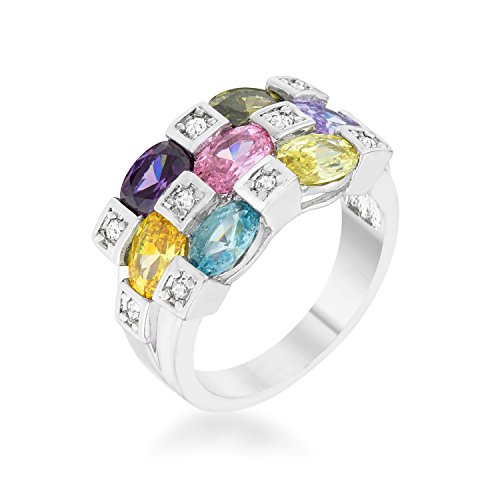 Cocktail Ring for Woman Multi-Colored Round Cubic Zirconia Bezel Setting Size 5