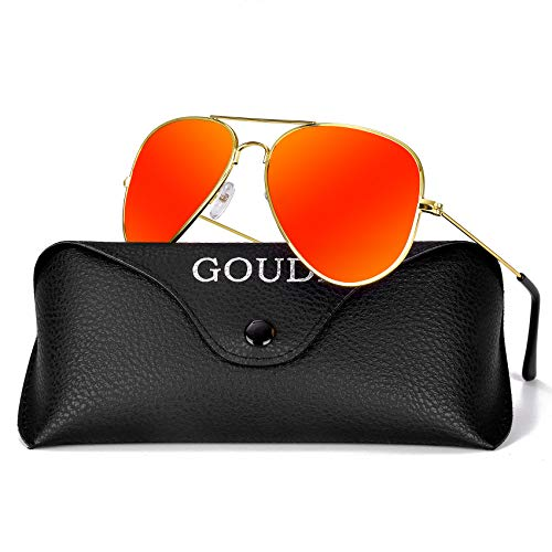 (Aviator Sunglasses for Men Women - GOUDI Polarized Metal Frame Lightweight UV 400 Protection Driving Mens Women Sunglasses GD9002(red/gold))