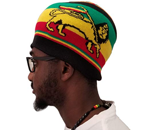 (FIREBUNs Men Short Beanie Hat Uncuffed Knit Rasta Ethiopia Flag Hat Skull Cap)
