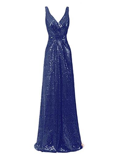 Ysmo 2016de la mujer cuello en V largo de lentejuelas vestido de noche Prom Fiesta de caída azul azul marino 46