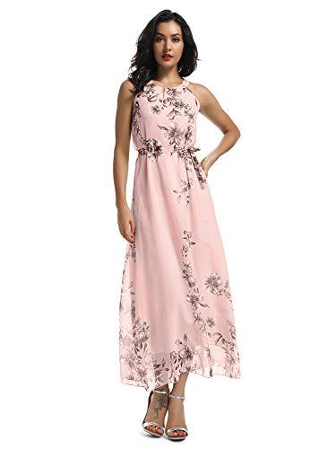 - Women's Sleeveless Halter Neck Vintage Floral Print Maxi Dress Pink 2XL