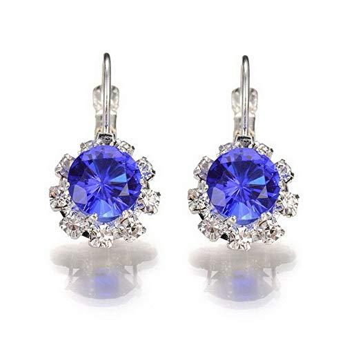 Endicot White Gold Plated Sapphire Crystal Ruby Cubic Zirconia Hoop Huggie Earrings Stud | Model ERRNGS - 16789 |